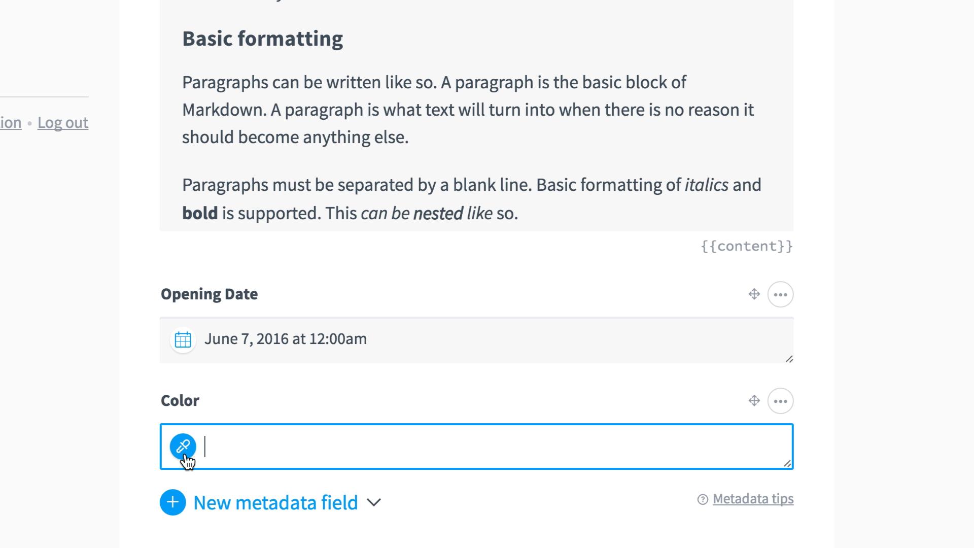 metadata types