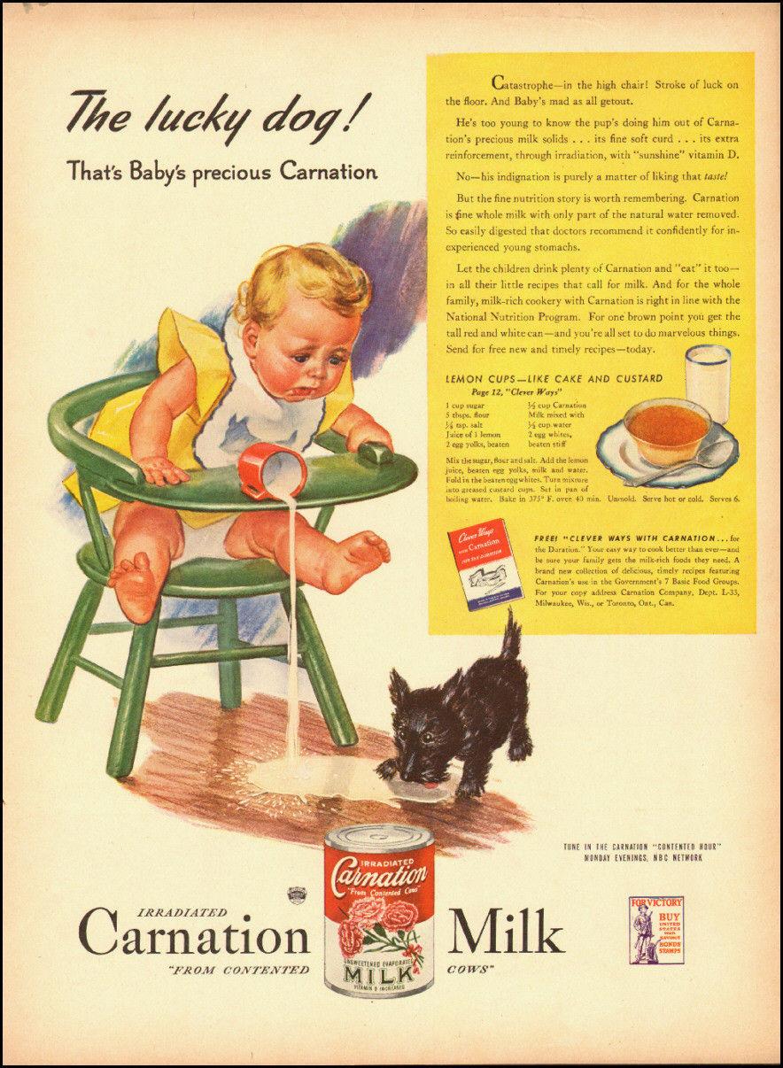 1944 Vintage Ad for Carnation Milk`Art Baby Milk Dog 052314 | eBay