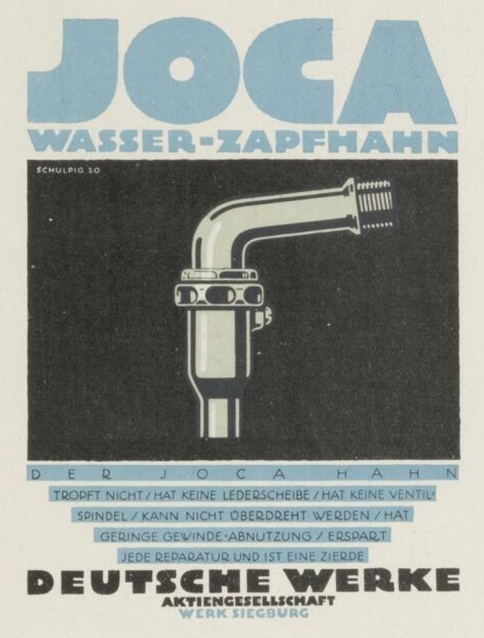 Joca Wasser-Zapfhahn Deutsche Werke ad prospectus by Karl Schulpig
