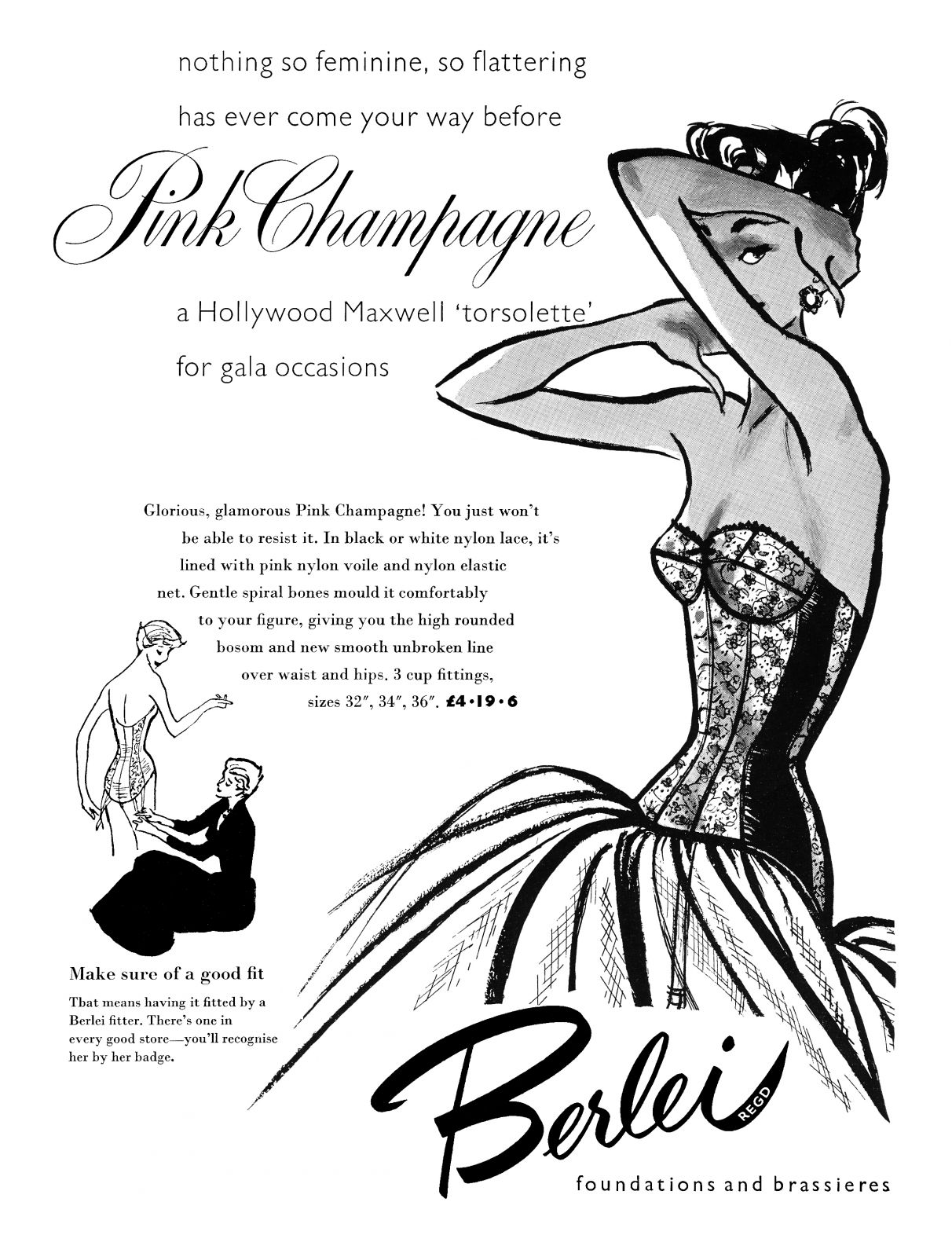 1955 Berlei Pink Champagne ad