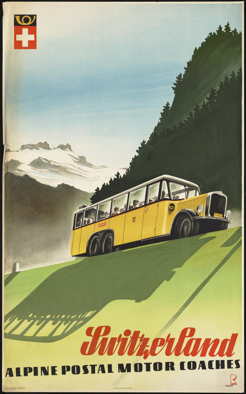 Switzerland. Alpine postal motor coaches