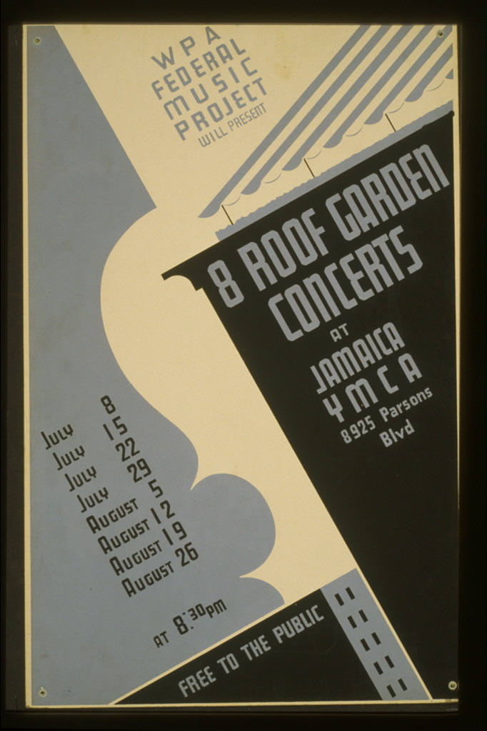 WPA Federal Music Project will present 8 roof garden concerts at Jamaica YMCA Free to the public.