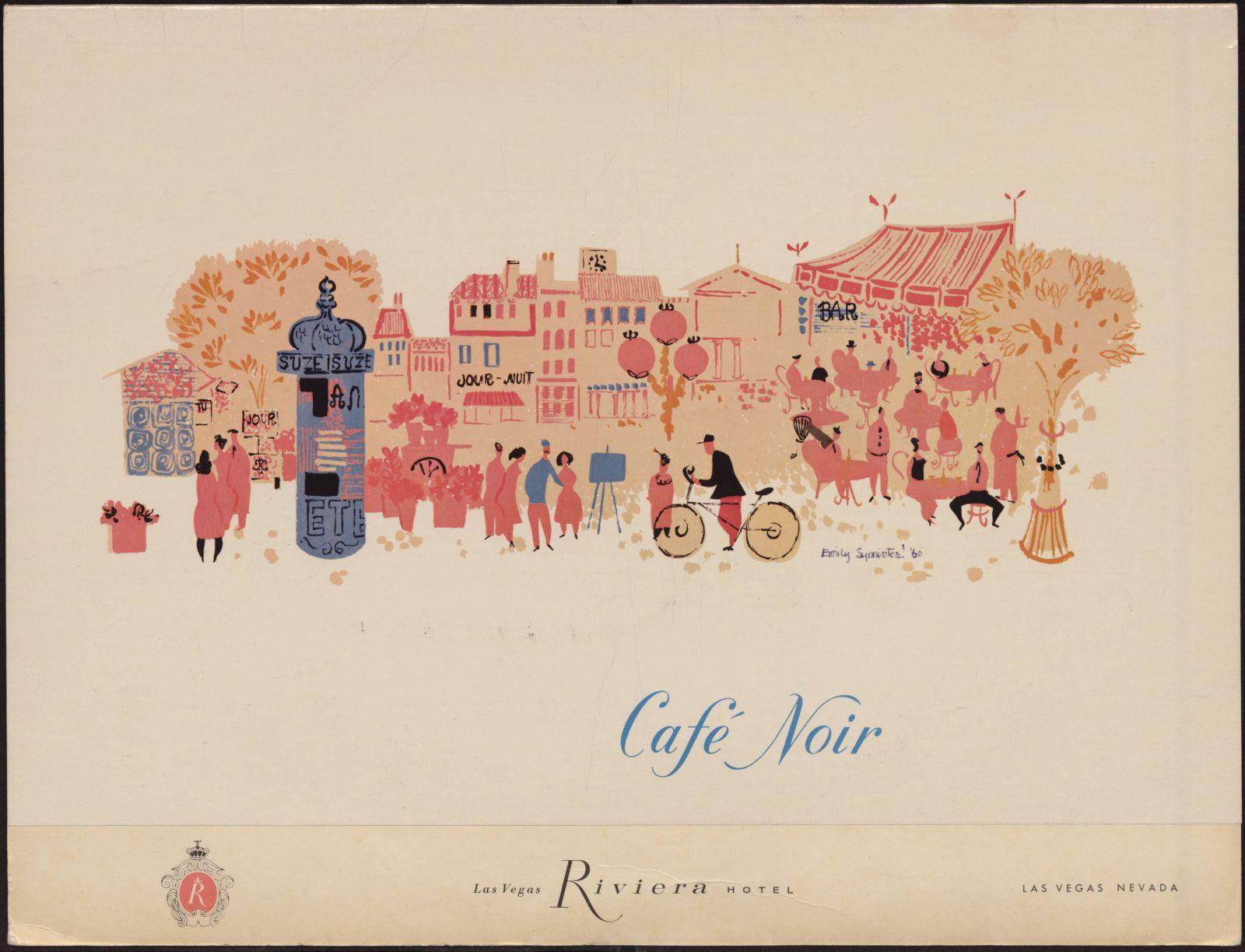 Illustration by Emily Syminton, 1960. Café Noir menu, Riviera Hotel and Casino