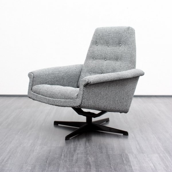 1960s lounge chair with checkered upholstery