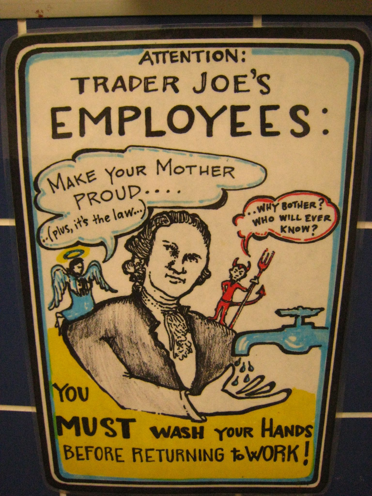 Wash your hands, Trader Joe's Employees