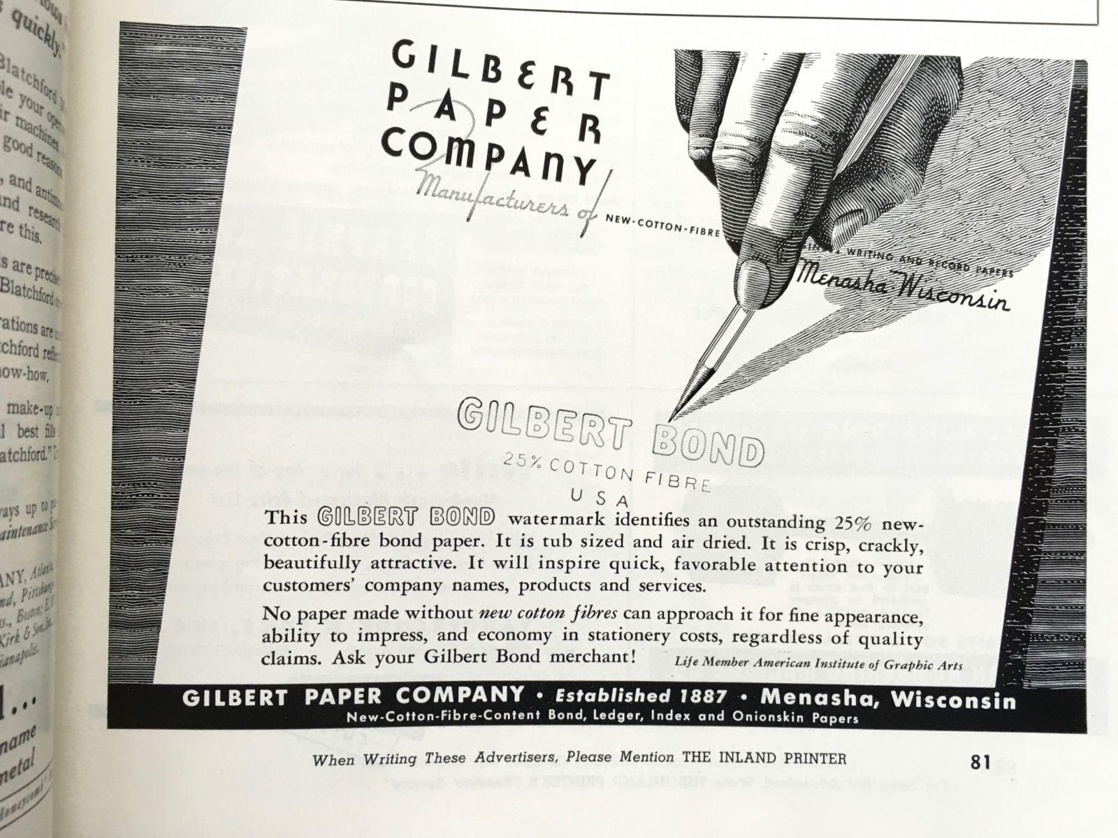 Gilbert Paper ad: Gilbert Bond