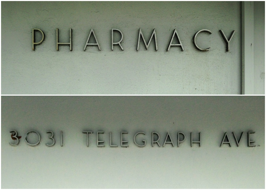 Berkeley Central Medical Building: Pharmacy and Address signs