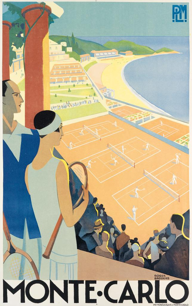 ROGER BRODERS (1883-1953). MONTE • CARLO. Circa 1930. 39x24