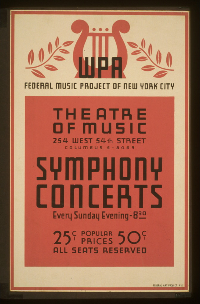 Symphony concerts WPA Federal Music Project of New York City Theatre of Music.