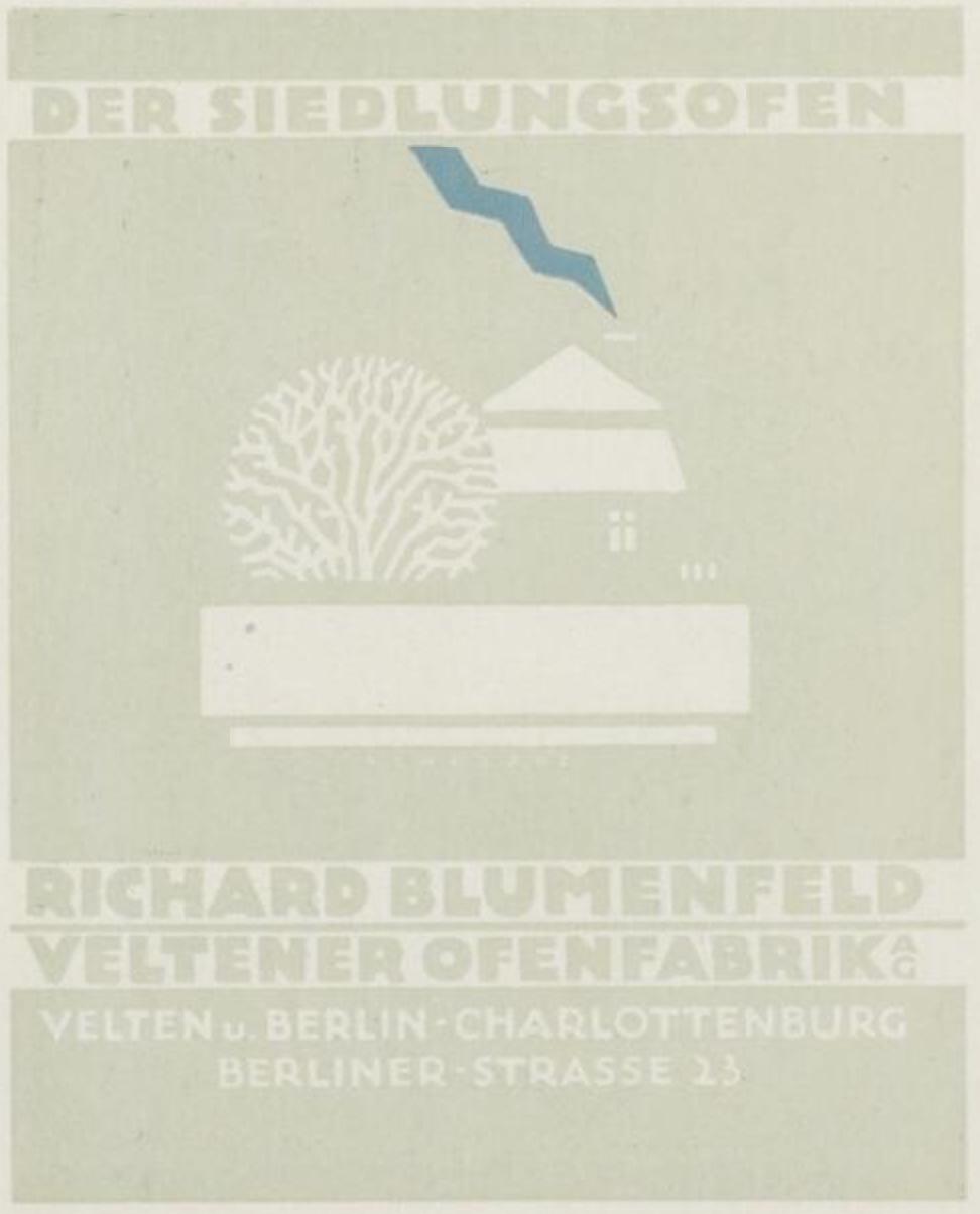 Richard Blumenfeld Veltener Ofenfabrik ad prospectus by Karl Schulpig