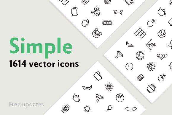 Simple — 1614 Line Icons Bundle