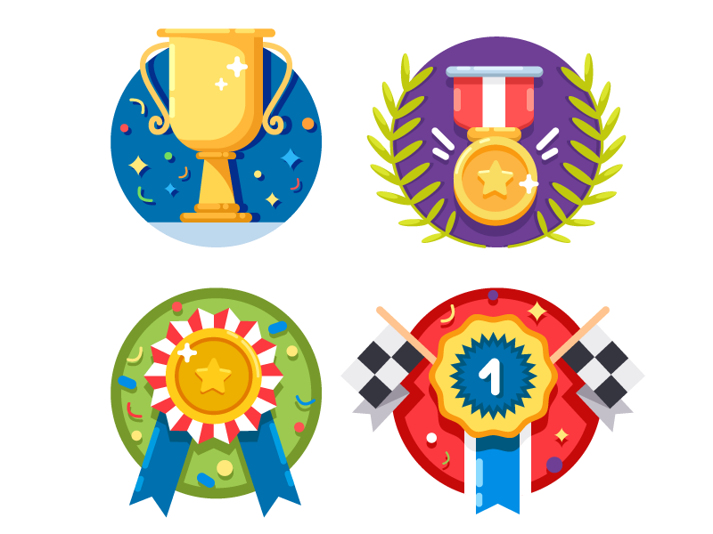 Set of rewards icons