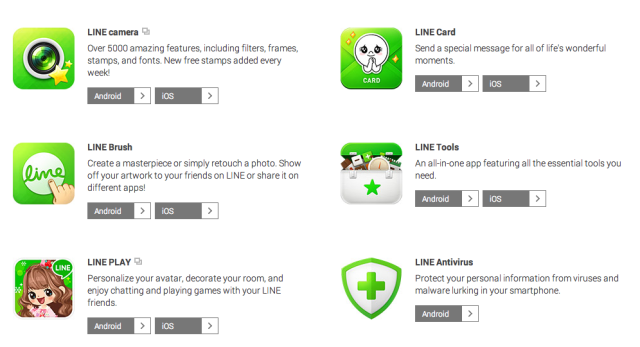 The many apps associated with Line.