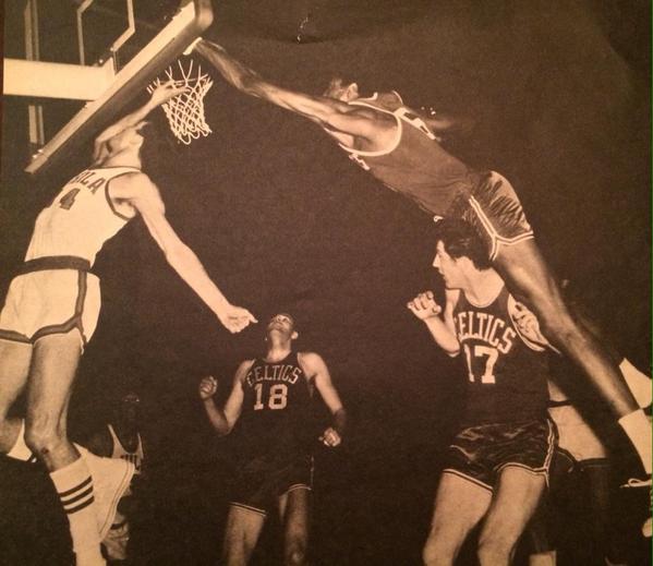 Bill Russell blocking a shot.