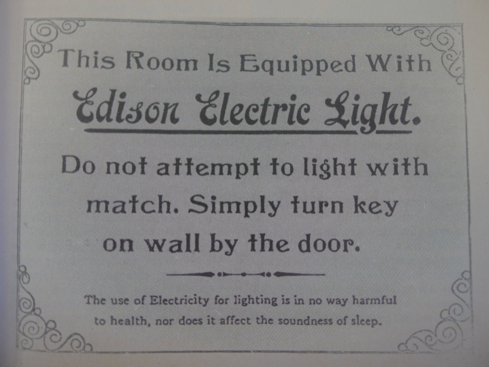 Edison Electric Light - do not attempt to light with match (old instructions)