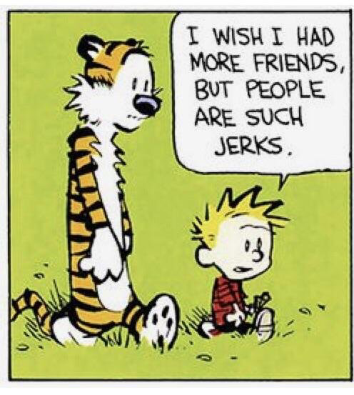 Calvin & Hobbes: Wish I had more friends, but people are jerks