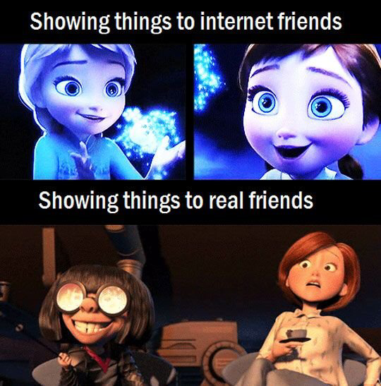 Showing things to internet friends vs IRL friends