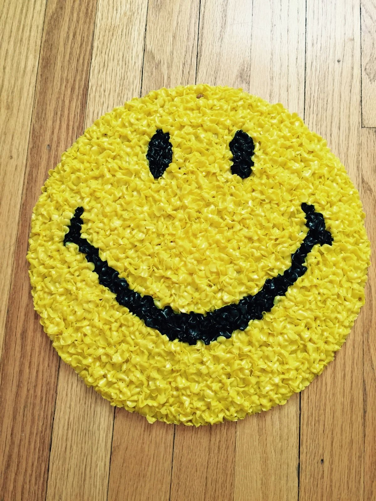 "Vintage 13"" Happy Smiley Face Melted Popcorn Plastic Have A Nice Day Retro 70s 
