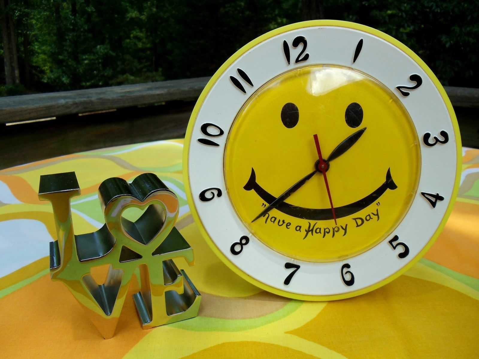 Vtg 1970s Retro Have A Happy Nice Day Yellow Smiley Face Groovy Wall Clock Mod | eBay