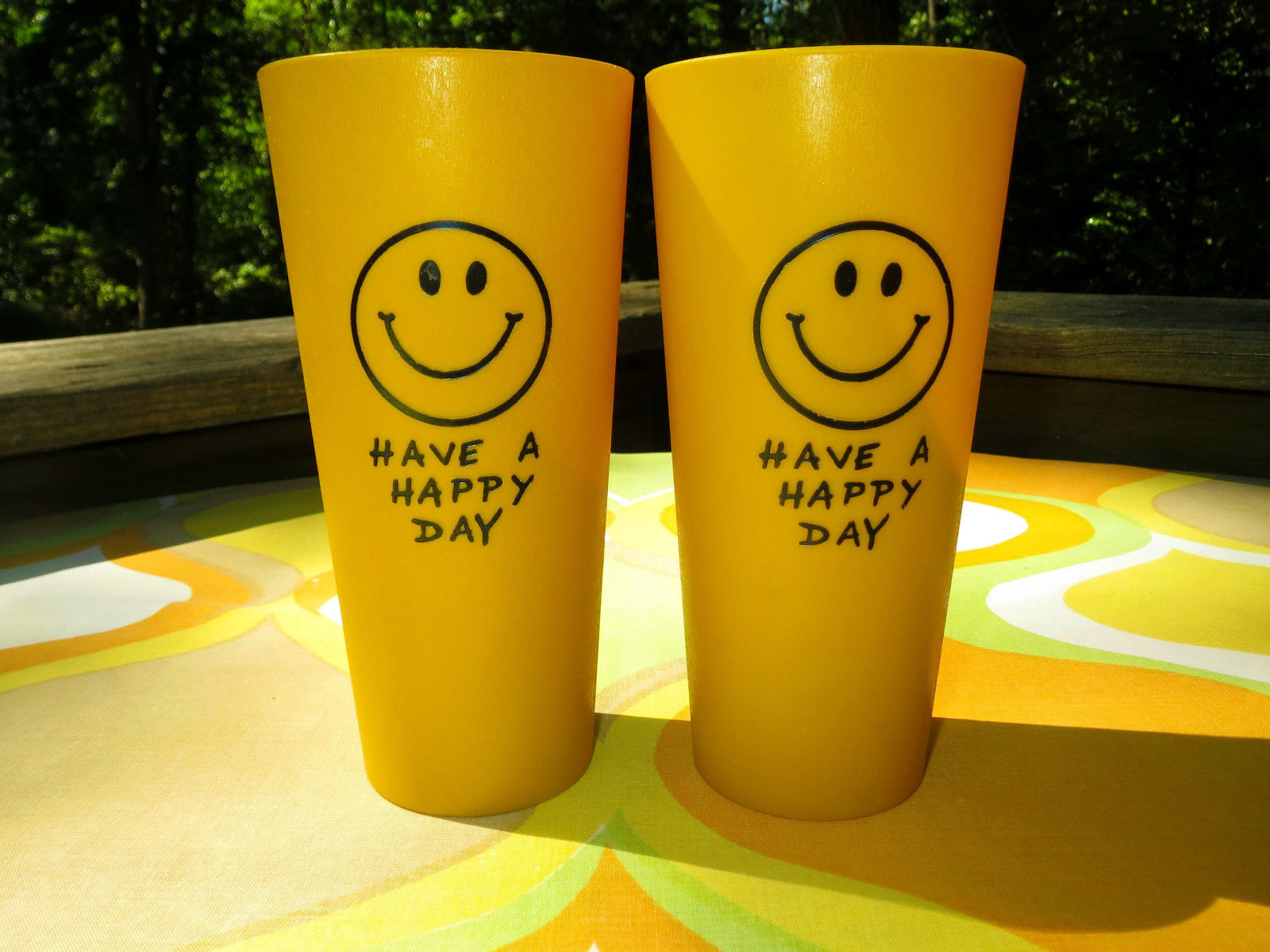 Vtg 1970s Retro Smiley Face Groovy Plastic Hippie Have A Happy Day Cups Tumblers   eBay