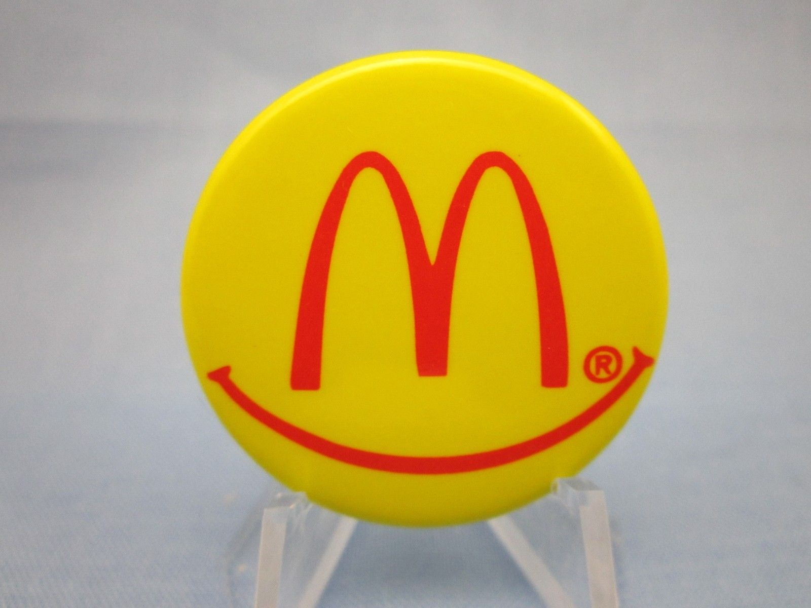 "Vintage Pinback "" McDonalds Restaurant Smiley Face Button "" Pin Free Shipping 