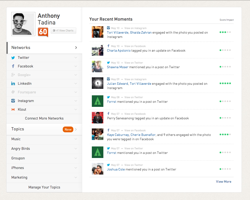Klout UI