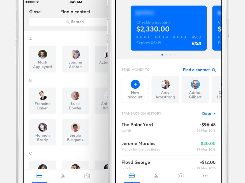 Banking app - Home screen by Ivan Bjelajac - Dribbble