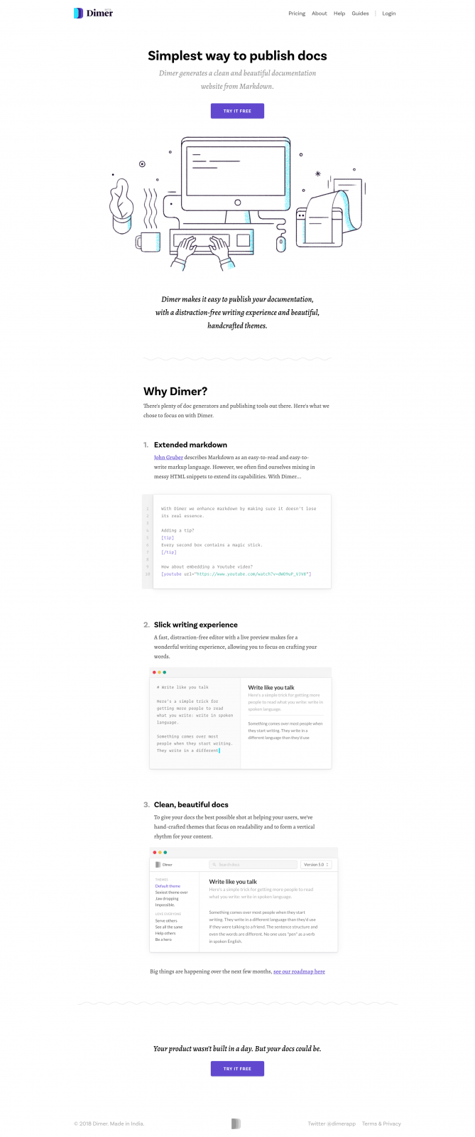 Dimer - Simplest way to publish docs